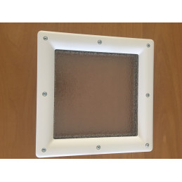 Hublot carré en PVC blanc, double vitrage plexiglas, brouillé, 290 mm