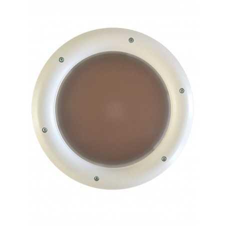 Hublot rond en PVC blanc, double vitrage plexiglas, brouillé, 315 mm