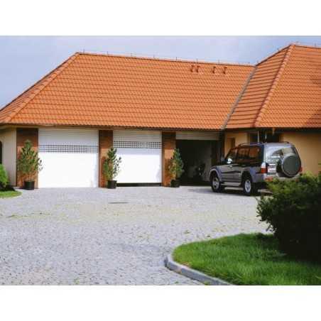 Porte de garage enroulable blanche avec hublots