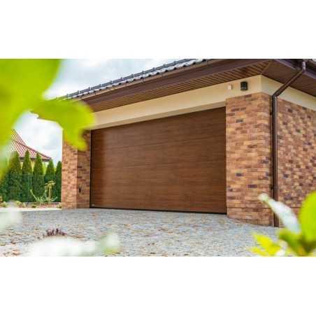 Porte de garage sectionnelle Sans ligne Ton bois